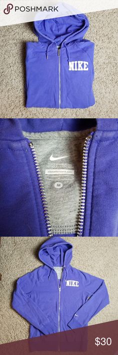 Nike purple full zip hoodie jacket Nike purple full zip hoodie jacket with pockets. The color is a purple violet. Size MEDIUM. In excellent condition.   Bundle for a discount or make an offer! Nike Tops Sweatshirts & Hoodies