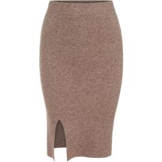 SheIn(sheinside) Camel Slim Split Knit Skirt ($16) ❤ liked on Polyvore featuring skirts, bottoms, camel, knit skirt, brown knee length skirt, camel pencil skirt, camel skirt and knee high skirts