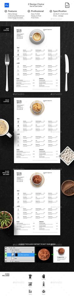 PSD Menu Template for your Coffee Shop, Restaurant, Cafe, Food Truck, and Hotel.