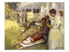 Nurses Attend to Wounded French Soldiers Lámina giclée