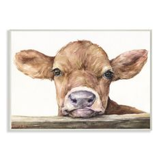 Stupell Industries Cute Baby Cow Animal Watercolor Painting Framed Giclee Texturized Art by George Dyachenko, Size: 24 x Multicolor Painting Frames, Painting Prints, Watercolor Paintings, Art Paintings, Cow Paintings On Canvas, Cow Canvas, Watercolors, Watercolor Wood, Cute Baby Cow