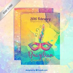 Colorful brazilian carnival poster in hand painted style Free Vector Carnival Posters, Rio Carnival, Carnival Invitations, Havana Nights, Tea Party, Vector Free, Hand Painted, Assisted Living, Graphic Design