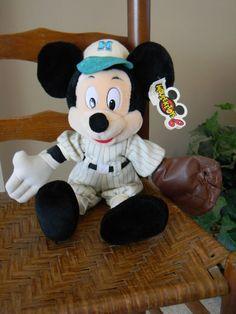 "Vintage Baseball MICKEY MOUSE Plush 16"" w/ TAGS Disney Parks Stuffed Toy"