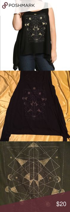 Torrid black shark bite tank Geo compass on it. Worn once or twice. Perfect condition. Great bohemian piece! torrid Tops Tank Tops