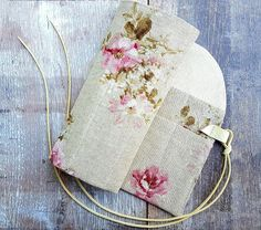SHABBY LINEN CASE Natural Pink Roses Knitting Crochet Needle Hook Double Organiser Holder Roll Bobbin Lace Tools Cover Ivory Leather Gift