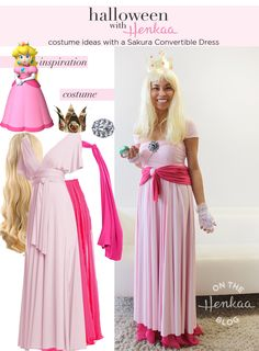 Nintendo Princess peach Costume - Get into the Halloween spirit with this Super Mario Bros look! Get creative and see how many styles you can achieve with a convertible dress! #henkaaween