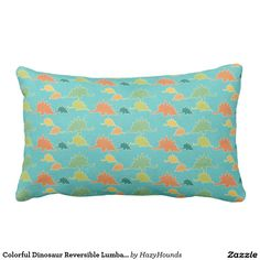 Colorful Dinosaur Reversible Lumbar Pillow