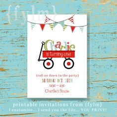 RED Wagon Party Printable Party Invitations - I design - YOU PRINT. $12.00, via Etsy.