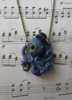 Dapper Octopus necklace - Blue. $22.00, via Etsy.