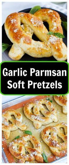 Garlic Parmesan Soft Pretzels - Fresh soft pretzels mixed with herbs and…