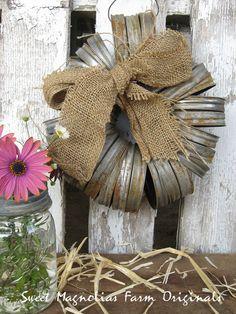 Wreath  Canning Mason Jar Lids  Rustic by SweetMagnoliasFarm, $22.50