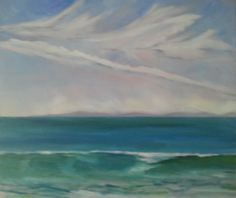 """18 x 24"""" oil on canvas painting from Butterfly Beach in Montecito - a work in progress, but I thought I'd post it anyway. (c) Rebecca Stebbins"""