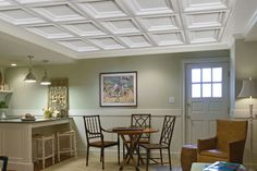 Armstrong Ceilings (Common: x Actual: x Single Raised White Patterned Drop Acoustic Panel Ceiling Tiles at Lowe's. Beautify your space with the upscale look of a shallow coffered ceiling panel. The grid-blending edge detail masks the look of metal grid. Plastic Ceiling Panels, Drop Ceiling Panels, Drop Ceiling Basement, Drop Ceiling Tiles, Dropped Ceiling, Drop Down Ceiling, Ceiling Grid, Plafond Design, Ceiling Installation