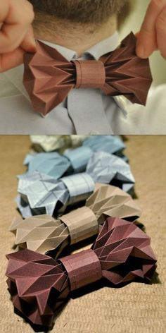 """Bowtie Origami instructions http://justinaoffiberlab.blogspot.com/2013/05/how-to-look-sharp-for-summer.html"