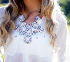 Fancy - Pink Crystal Necklace by Zara on We Heart It Maxi Collar, Floral Necklace, Crystal Necklace, Hair Necklace, Resin Necklace, White Necklace, Earrings, Passion For Fashion, Dress To Impress