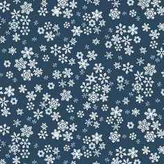 Midnight Blue cotton fabric with white snowflakes 1585-B9