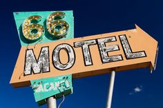 Route 66 Vintage Needles 66 Motel Sign with Arrow - Road Trip Inspired - Route 66 Art - Needles California - 12X18 Fine Art Photograph