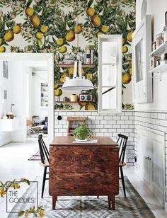 Home Interior Wood Lemon tree wallpaper Floral wallpaper Wall mural 69 Wallpaper Wall, Bathroom Wallpaper, Tree Wallpaper Dining Room, Modern Kitchen Wallpaper Ideas, Design Studio, Küchen Design, Design Shop, Lamp Design, Lighting Design
