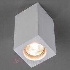 Spot en plâtre Anelie pour ampoule GU10, référence 9613030 - Lampes et luminaires DIY en plâtre à peindre chez Luminaire.fr !
