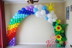 Over The Rainbow - Balloon Arch Rainbow Balloon Arch, Ballon Arch, Deco Ballon, Balloon Columns, Lila Party, Festa Party, Ballon Decorations, Birthday Decorations, Baby Shower Balloons