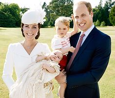 Kate, Princess Charlotte, Prince George and Prince William at Charlotte's christening.