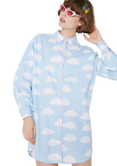 Lazy Oaf Sometimes Cloudy Shirt a lil rain doesn't scare ya. Stay sunny in this cute af button up shirt that has pink scalloped trim and a blue N' white cloud print.