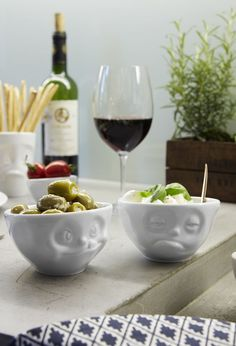 Cutesy faces bring a smile to your face when using this whimsy set of molded porcelain bowls. Kitchen Items, Kitchen Dining, Red Bowl, Healthy Cereal, Miso Soup, Dessert, Snacks, Muesli, Bowl Set