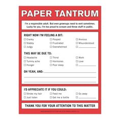Knock Knock Paper Tantrum Nifty Notes. Perfect for leaving passive aggressive notes for friends, roommates, coworkers. Be clever with Knock Knock notepads.