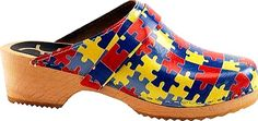 Cape Clogs Shoes - Vibrant puzzle piece colors offer One Step at a Time- supporting autism awareness with these clogs! - #capeclogsshoes #yellowshoes