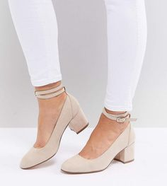 London Rebel Wide Fit Mid Block Heeled Shoes