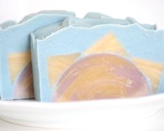 Grapefruit Sunrise landscape embed and swirl soap by The Bonnie Bath Co.