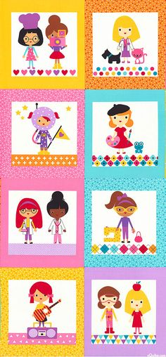 """Girl Friends - When I Grow Up - 24"""" x 44"""" PANEL - Quilt Fabrics from www.eQuilter.com"""
