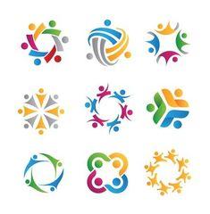 social icons and logos - Buy this stock vector and explore similar vectors at Adobe Stock Three Logo, Label Shapes, Family Logo, Community Logo, Social Community, Retro Logos, Vintage Logos, Social Icons, Kids Logo