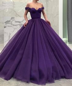 Purple Off Shoulder Ball Gown Quinceanera Dresses Simple Tiered Sweep Train Pleats Sweet 16 Dresses Quinceanera Gowns Custom Tulle Ball Gown, Tulle Prom Dress, Ball Gown Dresses, Satin Tulle, Long Ball Dresses, Pink Tulle, Lace Dress, Off Shoulder Ball Gown, Off Shoulder Evening Dress