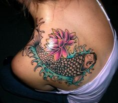 #koi #lotus #flower #asian #water #aquatic #tattoo #inked