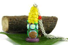Fairy House Necklace Miniature Faerie House  by rubipotamus