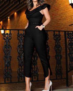Shop Layered Ruffle Split Leg Slinky Jumpsuit – Discover sexy women fashion at IVRose Jumpsuit Lang, Black Jumpsuit, Jumpsuit Outfit, Elegant Jumpsuit, Bodycon Jumpsuit, Strapless Jumpsuit, Striped Jumpsuit, Denim Jumpsuit, Fashion Clothes