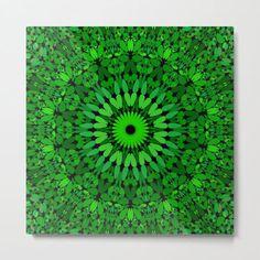Deep Green Leaves Mandala Metal Print by David Zydd #BestMetalPrints #MandalaMetalPrint #Home #Decor #Design #BohemianDecor #MandalaGraphic (tags: interior design, wall, floral, home decoration, mandala, bloom, arts, mandala design, geometric, leaves, decor, flora, pattern, blossom, wall design)