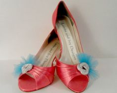 Coral  And Turquoise Heels, Wedding Heels, , Bridal Shoes.  Bridal Heels