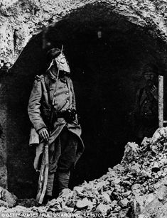 Horrific: Both sides used poison gas to make gains in the Battle of Verdun. Pictured: a soldier in a gas mark