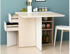 Sewing table for small spaces tiny house super Ideas Furniture, Room Accessories, Small Office Furniture, Table For Small Space, Small Office Organization, Small Space Bedroom, Space Saving Furniture, Small Storage, Compact Furniture
