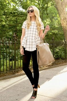 spring / summer - street style - street chic style - summer outfits - work outfits - business casual - office wear - black & white - black and white - b&w - windowpane peplum top - grid peplum top + black skinnies + black mules + black sunglasses + nude tote