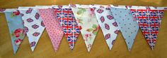 Shabby Chic Union Jack Fabric Bunting 2 by MollyFelicityDesigns