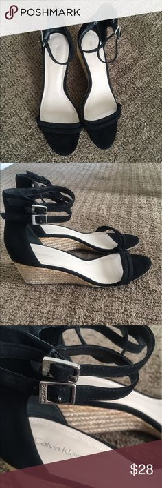 Calvin Klein Callista wedge sandal These sandals are awesome. Super comfy while being very fashionable. The straps around the ankle are an added level of fun! Worn once, but you can't even tell. Practically brand new. Calvin Klein Shoes Wedges