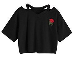 "Tootless Women's Rose Embroidery Casual V Neck Cute Navel T-shirt  Imported, please choose the size up 1 to 2 size than you usually order.  Note: Made in China, our size is China size, not US size. Please check the size measurement below carefully before you buy the item.  No matter what you unsatisfied with the item, please contact us firstly, we will ensure to give you a satisfied solution.  US Medium=China Large:Length:16.93""(43cm),Bust:43.31""(110cm),Shoulder:21.26""(54cm)  US Large=..."