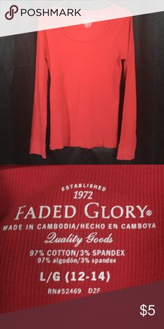 """Girls Long-sleeve Top Please refer to picture number two for true color red. Plain red long-sleeve. Shoulder width 2 1/2"""",sleeve length 24 1/2"""",full length front & back 24"""",chest width 13 1/4"""". Faded Glory Shirts & Tops Tees - Long Sleeve"""