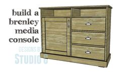 DIY Plans to Build a Brenley Media Console This media stand with its rustic look and large amount of storage is a super-simple build. The DIY plans to build a Woodworking Bench Plans, Woodworking Projects That Sell, Router Woodworking, Woodworking Videos, Diy Projects Desk, Rustic Media Console, Storage Building Plans, Cabinet Plans, Diy Sofa