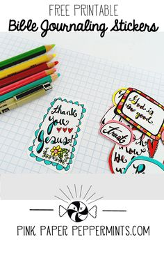 Free Printable Stickers for Bible Journaling and Illustrated Faith art journaling from Melissa @ PinkPaperPeppermints.com