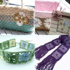 Create beautiful fun flowers in every season with wool, yarn, ribbon or raffia in different shapes and sizes.