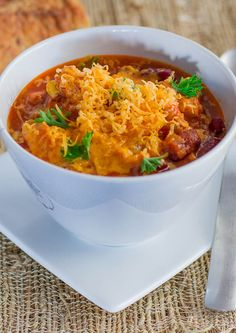 Slow Cooker Chicken Chili  - easy as 1 2 3, place all the ingredients in the slow cooker, set it and forget it!